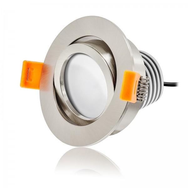 LED Einbaustrahler Set dimmbar & schwenkbar inkl. Einbaurahmen gebürstet 230V 10W Modul inkl. Trafo 120° Ra>90