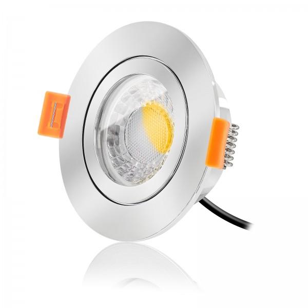 LED Bad Einbaustrahler Set IP44 dimmbar inkl. Forma RC Einbaurahmen chrom 230V 7W Modul warmweiß