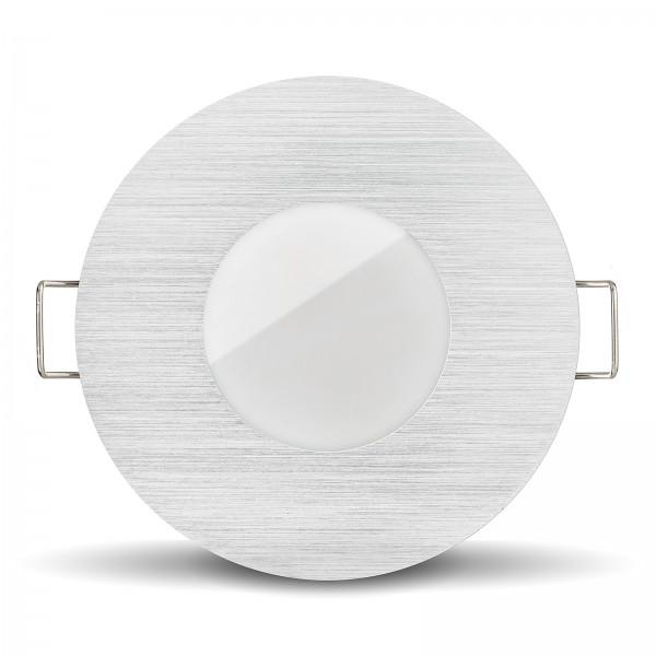LISTA AQUA LED Bad Einbaustrahler Set IP65 dimmbar inkl. Einbaurahmen gebürstet 230V 6W Modul inkl. Mini Trafo Ra>80