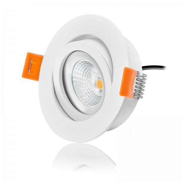 Ledox Led Einbaustrahler Set dimmbar & schwenkbar inkl. Einbaurahmen Forma weiß 230V 6W Modul flach 2700k warmweiß