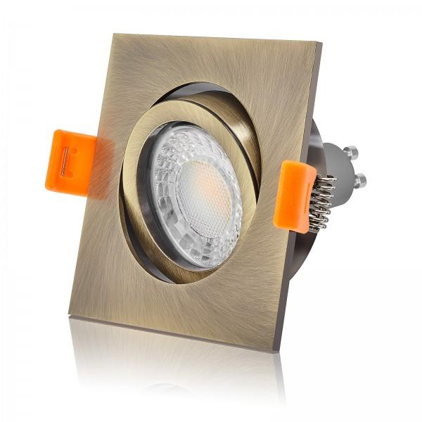 Led Einbaustrahler Set dimmbar & schwenkbar inkl. Einbaurahmen Bronze Messing 7W Led Leuchtmittel 3000k warmweiß mit GU10 Sockel
