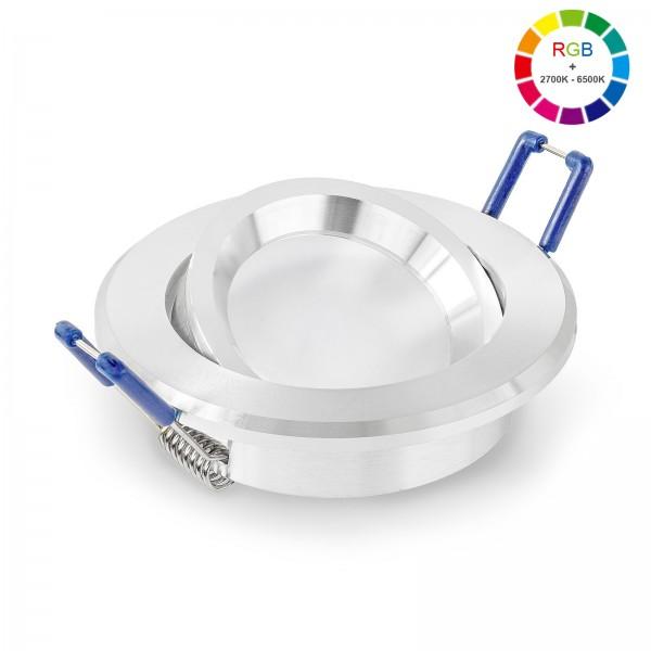 LED Einbaustrahler Set dimmbar & schwenkbar inkl. Einbaurahmen 230V 11W Modul RGB WWW