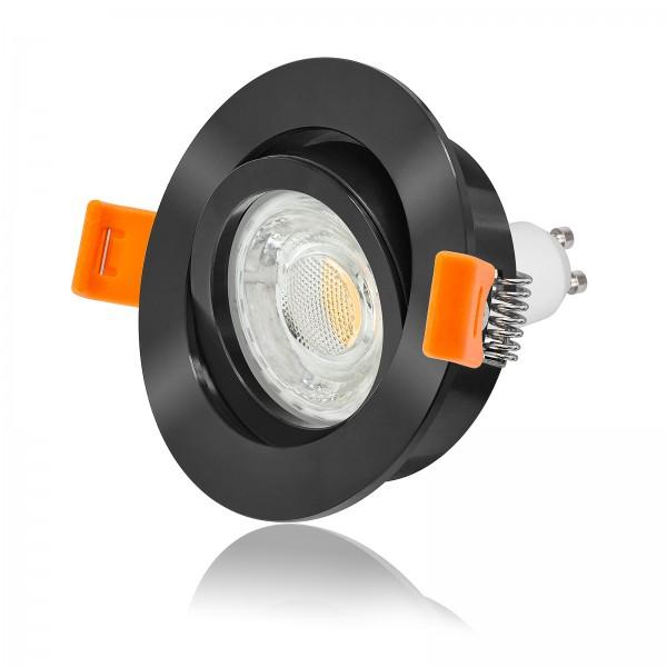 LED Einbaustrahler Set dimmbar & schwenkbar inkl. Premium Einbaurahmen Forma schwarz rund 230V 10W GU10 3000k