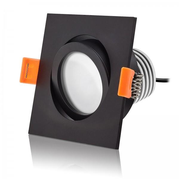 LED Einbaustrahler Set dimmbar & schwenkbar inkl. Einbaurahmen Forma ES schwarz 230V 10W Modul mit Ra>90