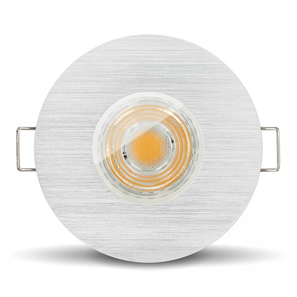 LED Bad Einbaustrahler Set IP65 dimmbar + Einbaurahmen gebürstet 230V 10W GU10 I 80W Ersatz