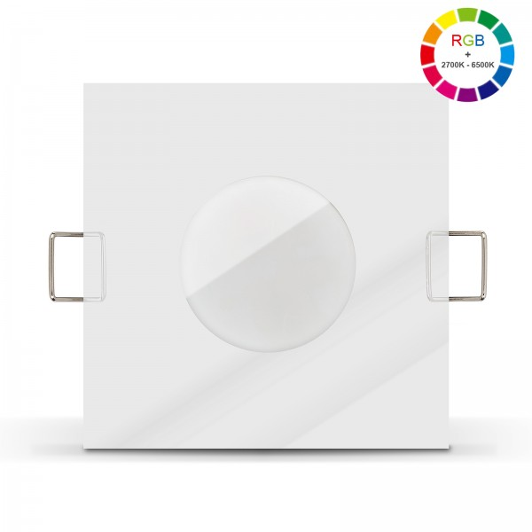Led Bad Einbaustrahler Set IP65 dimmbar inkl. Lista Aqua Einbaurahmen chrom 230V 6W mit RGB alle Farben