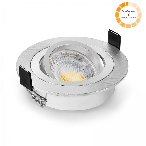 LED Einbaustrahler Set dimmbare steuerbare Farbtemperatur 1800K-3000K & Einbaurahmen rund gebürstet 230V 7W Modul