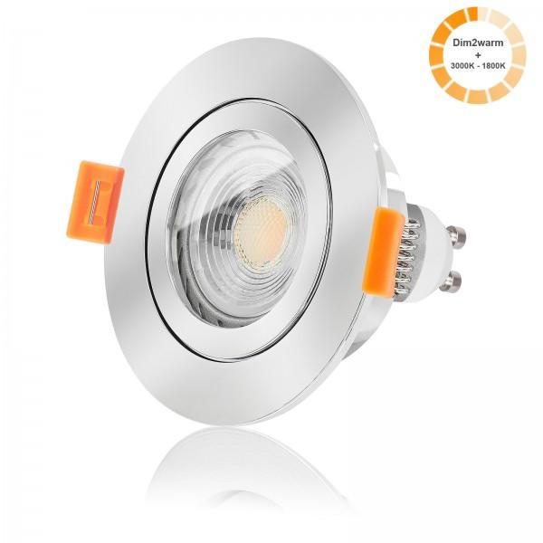LED Bad Einbaustrahler Set IP44 dimmbare Farbtemperatur 1800K-3000K inkl. Forma RC Einbaurahmen chrom 230V 7W GU10 warmweiß