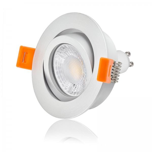 LED Einbaustrahler Set dimmbar & schwenkbar inkl. Forma RM silber matt 230V 7W GU10 mit Ra>93