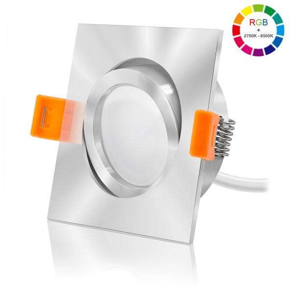 FORMA EC LED Einbaustrahler Set dimmbar & schwenkbar inkl. Einbaurahmen chrom 230V 11W Modul RGB WWW alle Farben