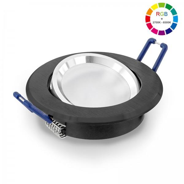 LED Einbaustrahler Set dimmbar & schwenkbar inkl. Einbaurahmen schwarz 230V 11W Modul RGB WWW