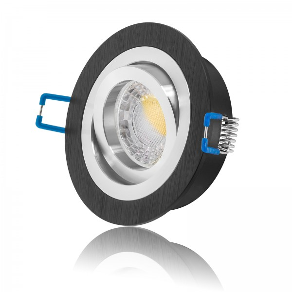 LED Einbaustrahler Set dimmbar & schwenkbar inkl. Einbaurahmen Bicolor 230V 7W Modul 24mm flach