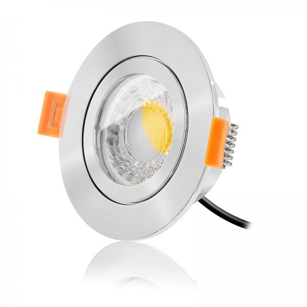 LED Bad Einbaustrahler Set IP44 dimmbar inkl. Forma RP Einbaurahmen poliert 230V 7W Modul warmweiß