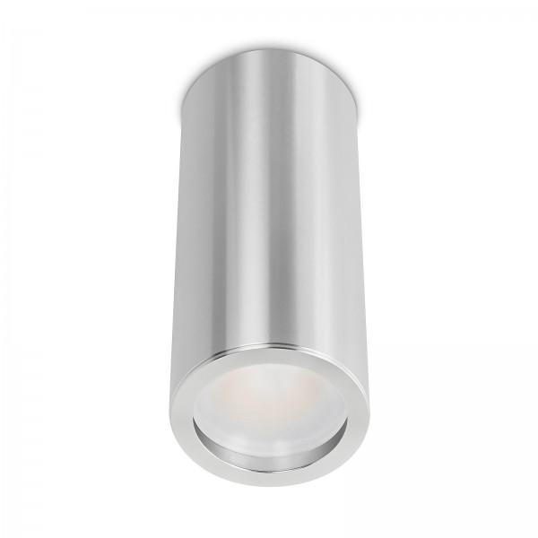 Tube Pure Aufbauleuchte - 230V 6W Modul dimmbar - Aufbaurahmen silber poliert Aluminium 17cm