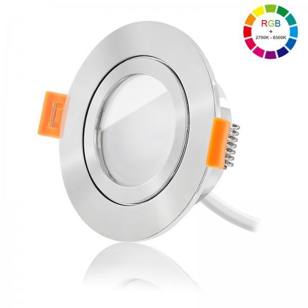 Led Bad Einbaustrahler Set dimmbar inkl. FORMA AQUA RP Einbaurahmen und Led Leuchtmittel Modul RGB + 2700k - 6500K