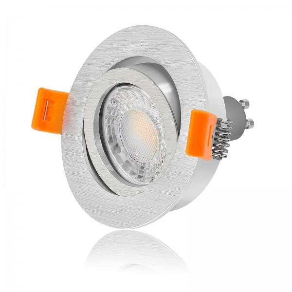 LED Einbaustrahler Set dimmbar & schwenkbar inkl. Premium Einbaurahmen gebürstet 230V 7W GU10 3000K warmweiß