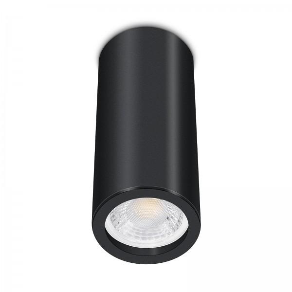 Tube Pure Aufbauleuchte - Aufbaurahmen schwarz Aluminium 17cm 230V 7W GU10 dimmbar mit 93 Cri