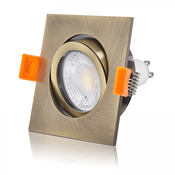 Ledox LED Einbaustrahler Set dimmbar & schwenkbar inkl. Premium Forma Einbaurahmen Bronze eckig quadratisch 230V 7W GU10 2700K