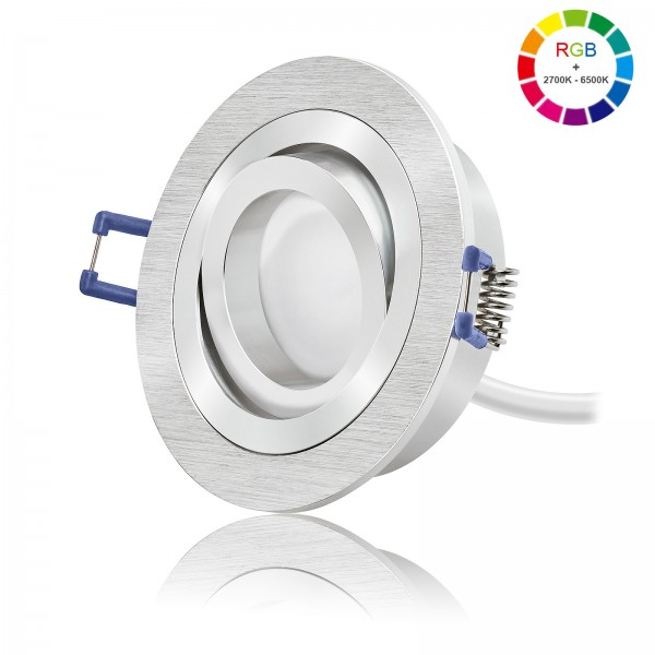 LED Einbaustrahler Set 230V 5W RGB + 6W 2700K - 6500K stufenlos einstellbar & dimmbar - All in One