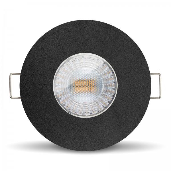 LISTA AQUA LED Bad Einbaustrahler Set IP65 dimmbar inkl. Einbaurahmen rund schwarz 230V 7W Modul inkl. Trafo mit Ra>90 - frontanischt