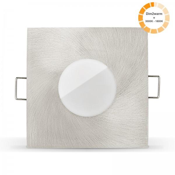 Ledox Lista Aqua LED Bad Einbaustrahler Set IP65 dimmbare steuerbare Farbtemperatur 1800K-3000K Einbaurahmen 230V 7W - gebürstet