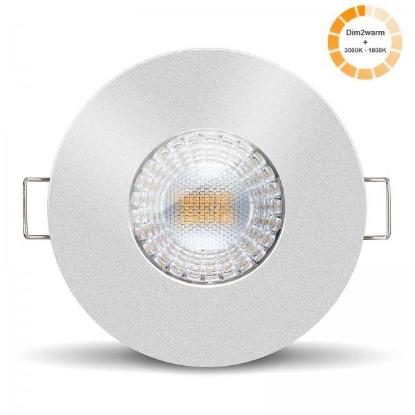 LED Bad Einbaustrahler Set IP65 dimmbare steuerbare Farbtemperatur 1800K-3000K Einbaurahmen silber 230V 7W