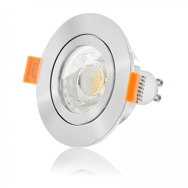 LED Bad Einbaustrahler Set IP44 dimmbar inkl. Forma Aqua RP Einbaurahmen poliert 230V 10W GU10 3000k warmweiß