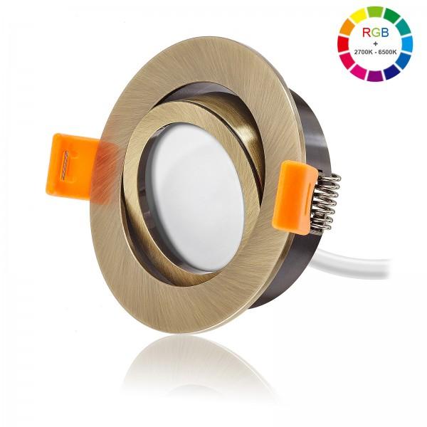Led Premium Einbaustrahler Set dimmbar & schwenkbar inkl. Led Leuchtmittel Modul RGB + 2700k - 6500K