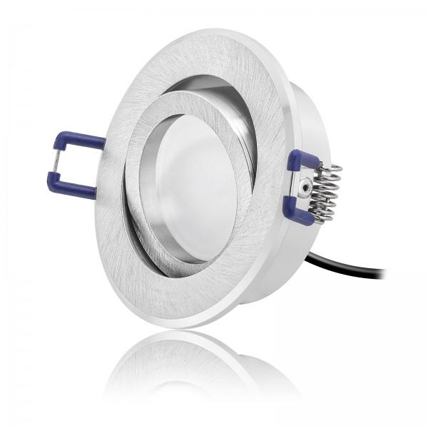 LED Einbaustrahler Set dimmbar & schwenkbar inkl. Einbaurahmen rund gebürstet 230V 6W Modul inkl. Trafo warmweiß