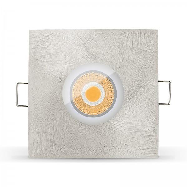 LED Bad Einbauleuchte Set IP65 - dimmbar inkl. Einbaurahmen gebürstet 230V 6W Feuchtraum Spot