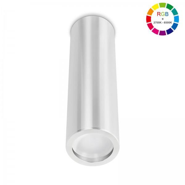 Smart Home Tube Pure LED Aufbauleuchte silber poliert 24cm 230V 5W RGB + 6W 2700K - 6500K mit Ra>90