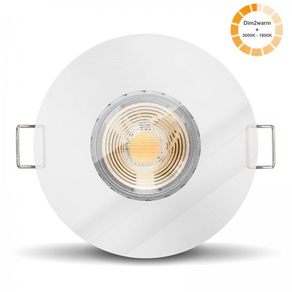LISTA AQUA LED Bad Einbaustrahler Set IP65 dimmbare Farbtemperatur 1800K-3000K 230V 7W GU10 Ra>96