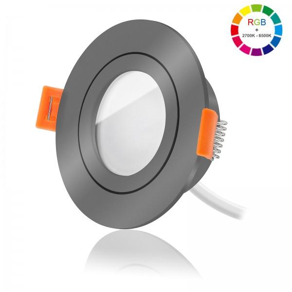 Ledox Led Bad Einbaustrahler Set dimmbar inkl. FORMA AQUA RA Einbaurahmen und Led Leuchtmittel Modul RGB + 2700k - 6500K