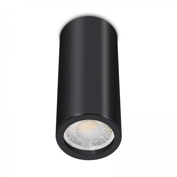 Tube Pure Aufbauleuchte - 230V 6W Modul dimmbar - Aufbaurahmen schwarz Aluminium 17cm