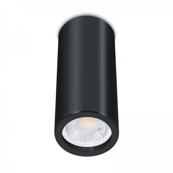 Tube Pure Aufbauleuchte schwarz Aluminium 17cm 230V 7W GU10 VOLLSPEKTRUM Led dimmbar mit Ra>98