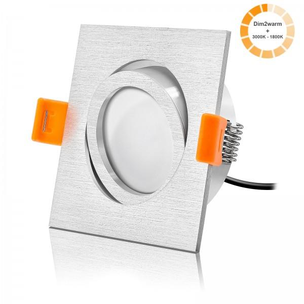 Led Einbaustrahler Set dimmbare Farbtemperatur 1800K-3000K inkl. Forma Einbaurahmen gebürstet 230V 7W Modul 24mm flach
