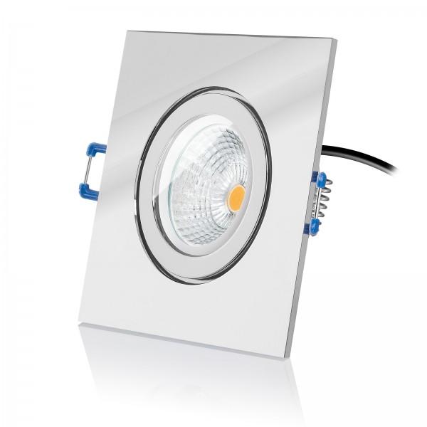 Led Bad Einbausleuchte Set IP44 dimmbar inkl. Einbaurahmen chrom 230V 6W Modul flach 2700k warmweiß mit Reflektortechnik