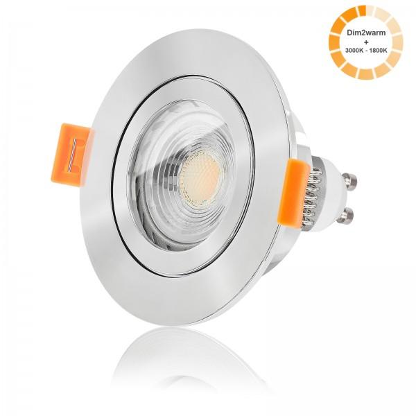 LED Bad Einbaustrahler Set IP44 dimmbare Farbtemperatur 1800K-3000K inkl. Forma RP Einbaurahmen poliert 230V 7W GU10 warmweiß