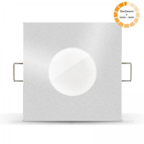Ledox Lista Aqua LED Bad Einbaustrahler Set IP65 dimmbare steuerbare Farbtemperatur 1800K-3000K Einbaurahmen silber 230V 7W