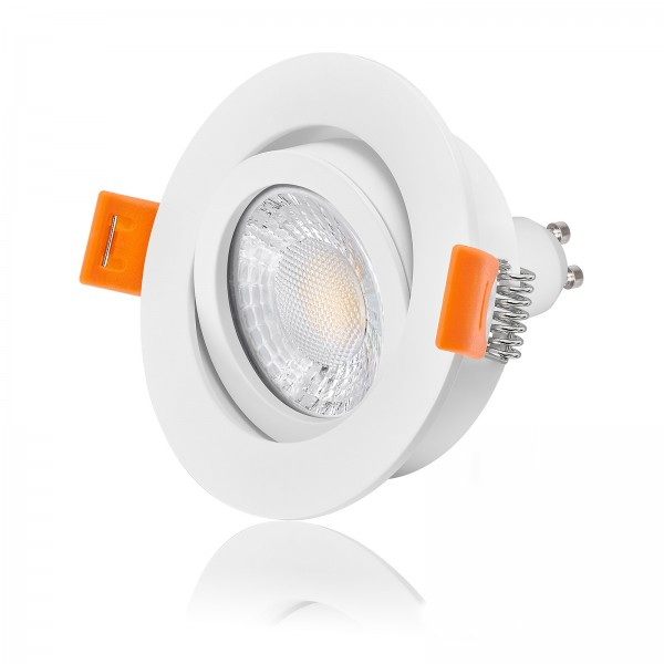 FORMA RW LED Einbaustrahler Set dimmbar & schwenkbar inkl. Einbaurahmen weiß 230V 7W GU10 Ra>93