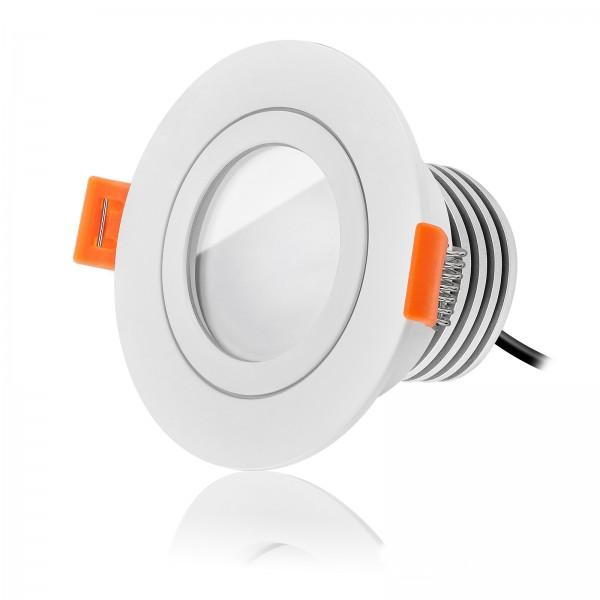 LED Bad Einbaustrahler Set IP44 dimmbar inkl. Forma RW Einbaurahmen weiß 230V 10W Modul warmweiß