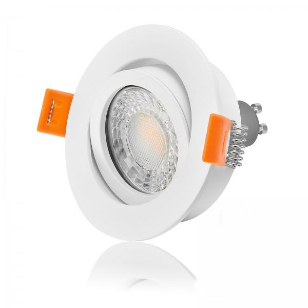 LED Einbaustrahler Set dimmbar & schwenkbar inkl. Forma Einbaurahmen 230V 7W GU10 3000k warmweiß
