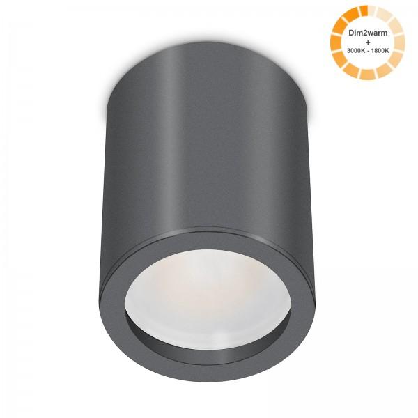 Tube Pure Aufbauleuchte - 230V 7W Modul dimm2warm - 120° Abstrahlung - dimmbar - Aufbaurahmen anthrazit Aluminium 10cm