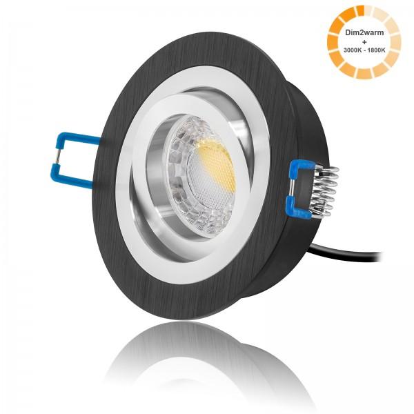LED Einbaustrahler Set dimmbare Lichtfarbe inkl. Bicolor Einbaurahmen schwarz rund 230V 7W Modul 24mm EXTRA FLACH Ra>90