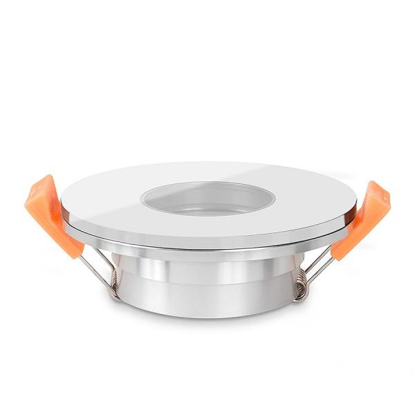 LISTA VIDRIO Bad Einbaustrahler IP44 Echtglas Einbaurahmen weiß rund 68mm Lochausschnitt