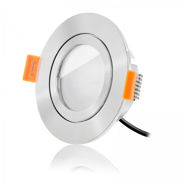 LED Bad Einbaustrahler Set IP44 dimmbar inkl. Forma Aqua RP Einbaurahmen poliert 230V 6W Modul warmweiß