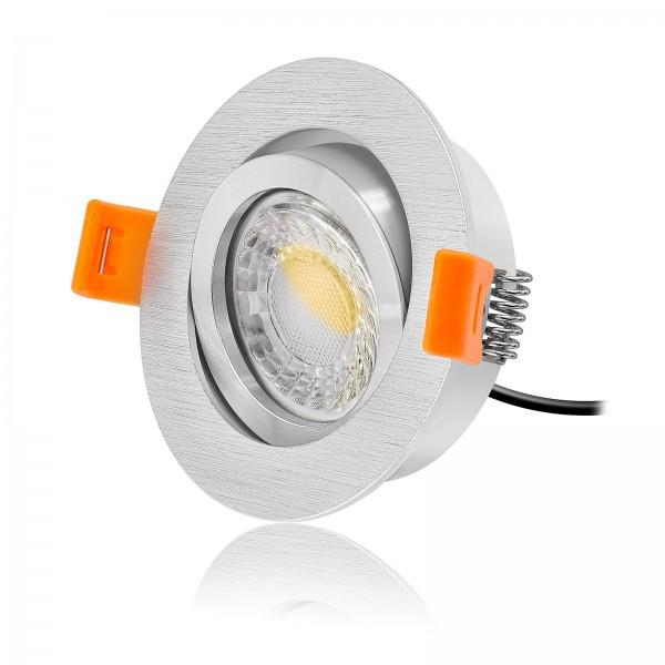 LED Einbaustrahler Set dimmbar & schwenkbar inkl. Einbaurahmen Forma gebürstet 230V 7W Modul 24mm