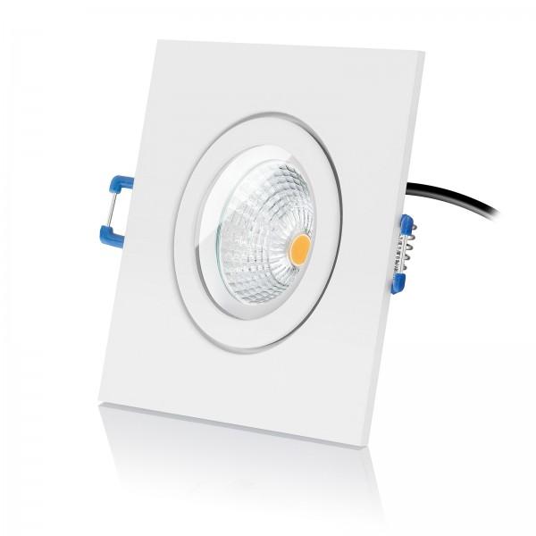 Led Bad Einbauspot IP44 Set inkl. Einbaurahmen eckig weiß 230V 6W Modul extra flach