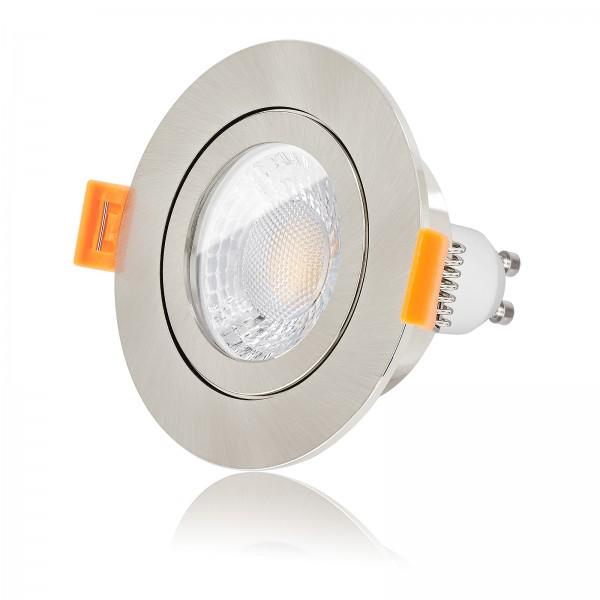LED Bad Einbauleuchte Set IP44 dimmbar inkl. Forma RE Einbaurahmen gebürstet 230V 7W GU10 Ra>93