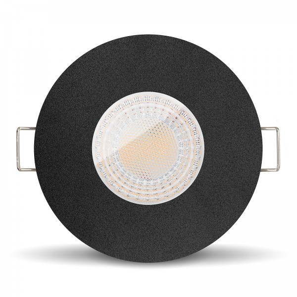Ledox Led Bad Feuchtraumleuchte IP65 dimmbar inkl. Einbaurahmen Lista Aqua schwarz rund 230V 7W GU10 Ra>93
